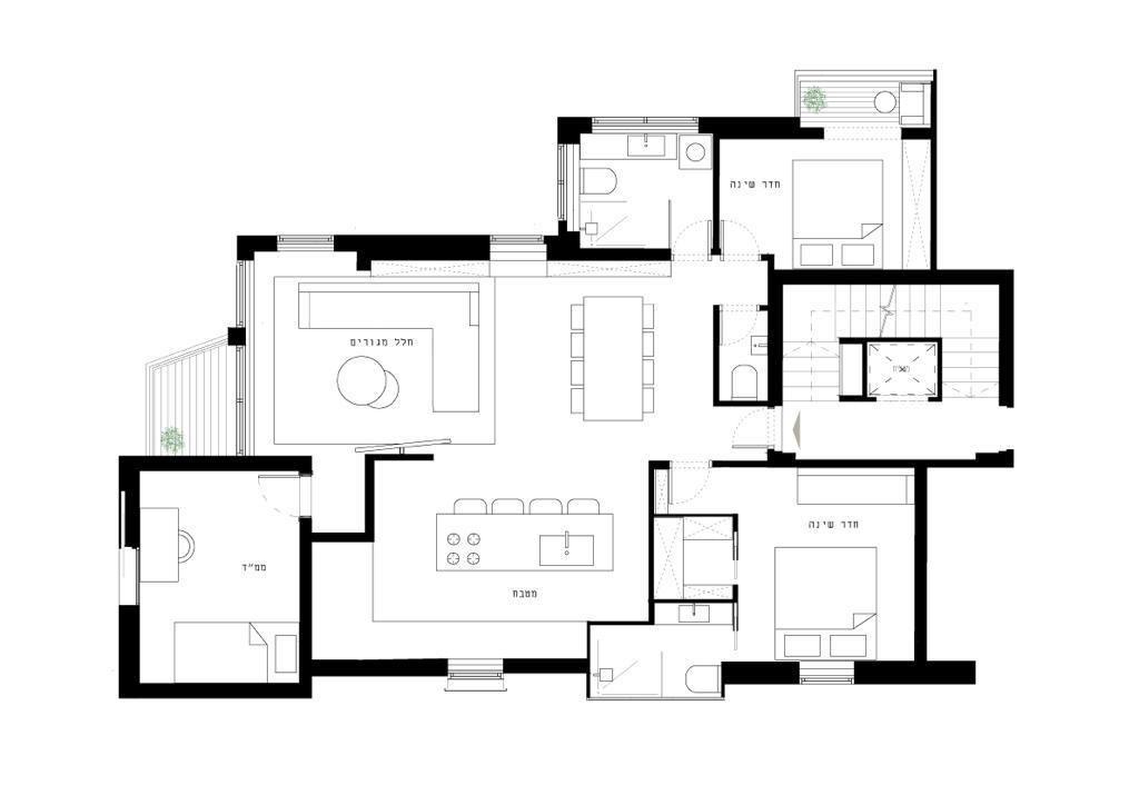 תוכנית רעיונית להמחשת הדירה המתוכננת בפרויקט